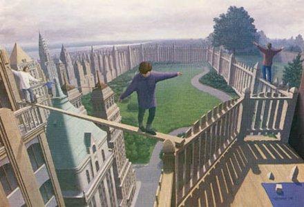 Gehen auf Zaun oder Hochhäuser?